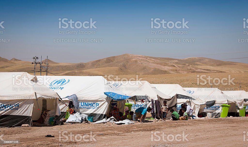 Refugee camp in Iraq stock photo