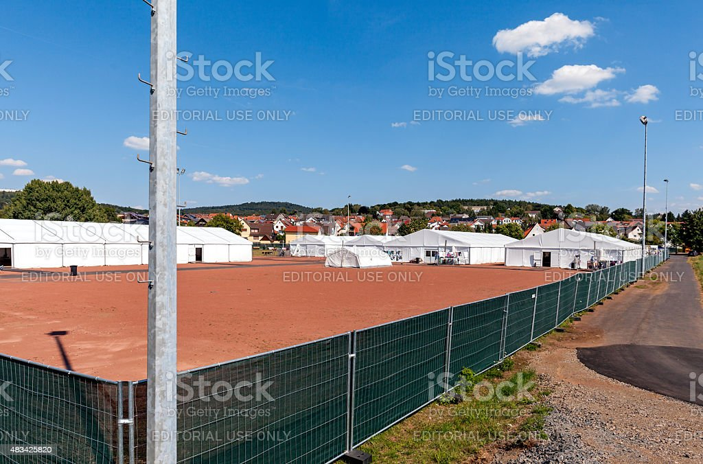 Refugee Camp Marburg stock photo