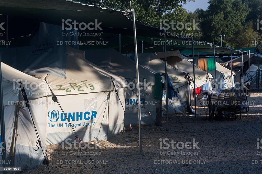 Refugee camp of Lagadikia, Greece stock photo