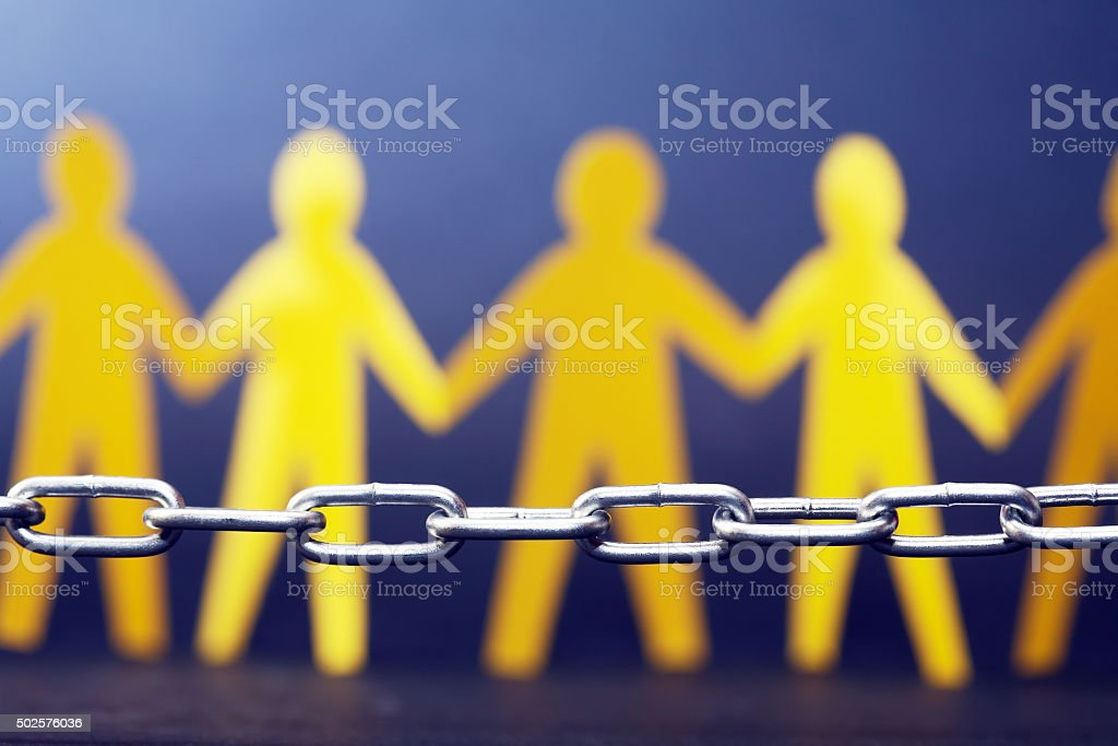 Refugee Concept. People Against Chain stock photo