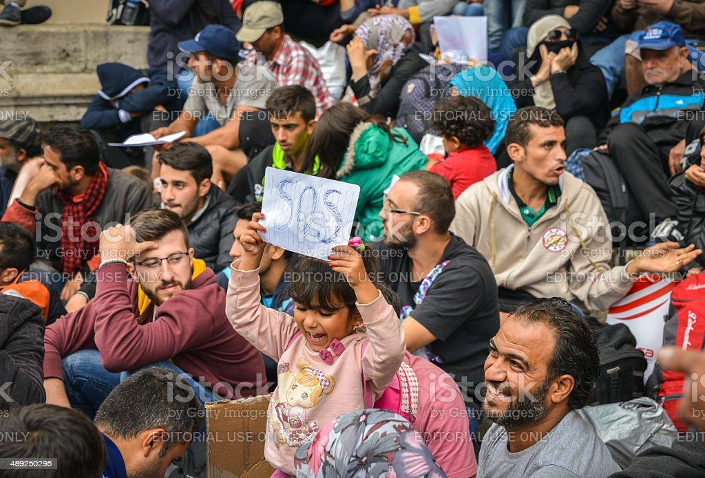 Refugee crisis in Budapest, Hungary stock photo