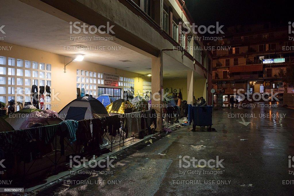 Refugee crisis in Mytilene, Lesbos, Greece stock photo