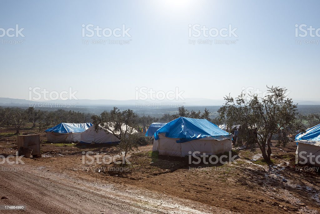 Syrian refugee camp in Atmeh, Syria stock photo