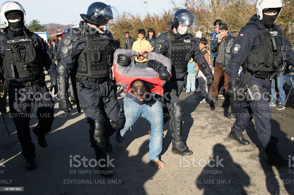 Refugees at Slovenia - Austria Border, November 19, 2015 stock photo
