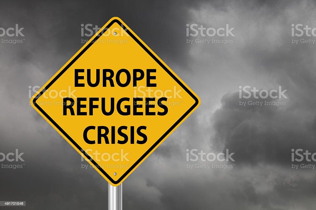 Refugees crisis warning sign stock photo