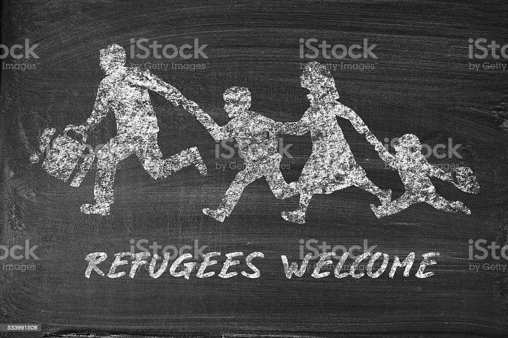 Refugees drawn on blackboard - concept refugees welcome stock photo
