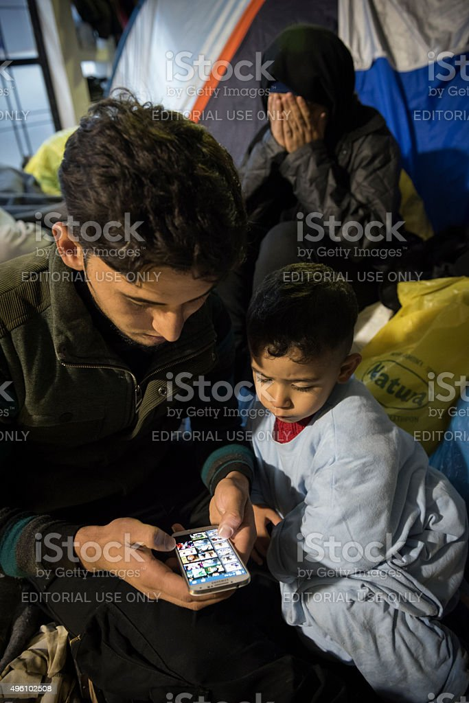 Refugees from Iraq and Syria stock photo