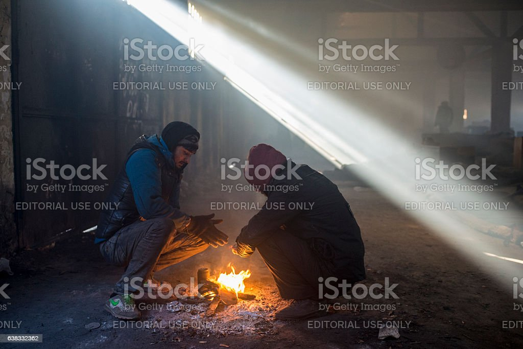 Refugees in Serbia stock photo