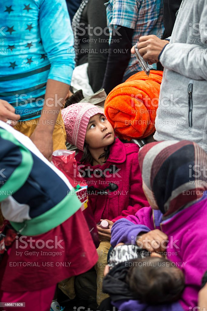 Refugees in the Keleti train station stock photo
