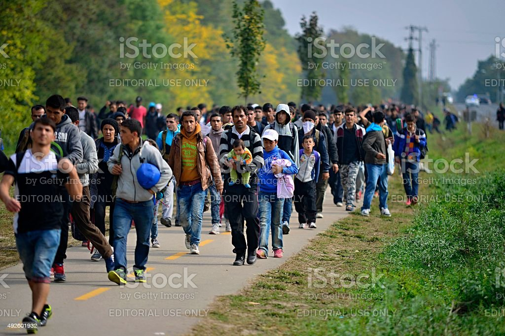 refugees leaving Hungary stock photo