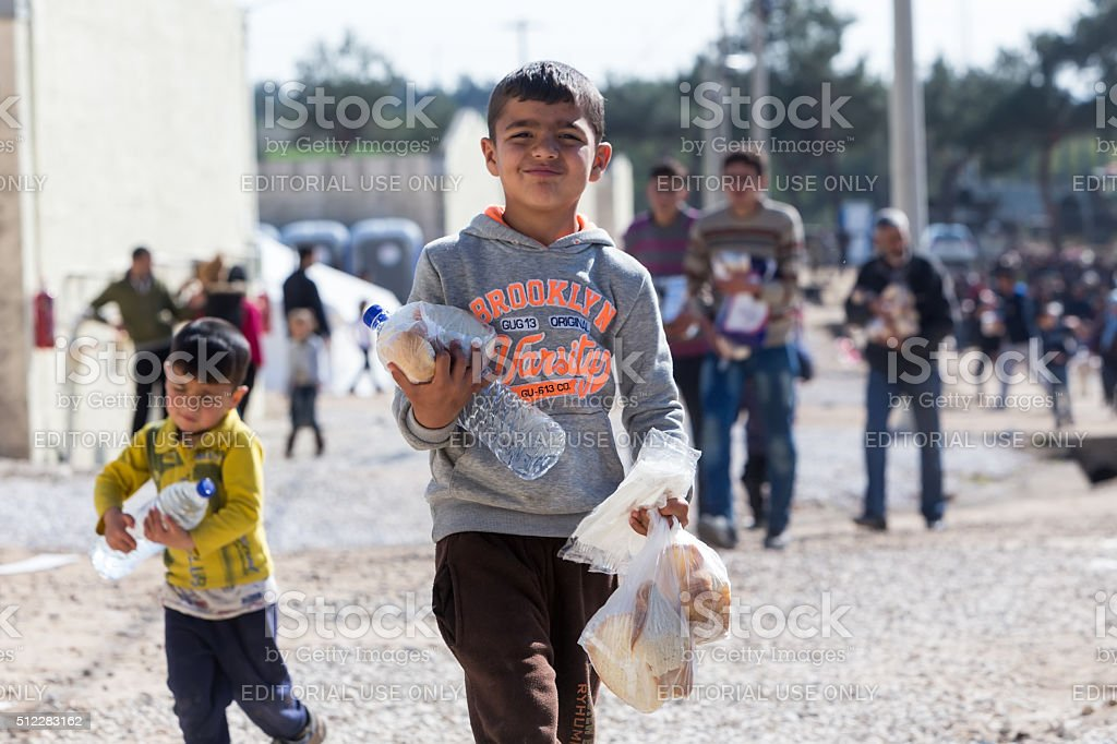 Refugees  living in tents in the center relocation Diavata stock photo