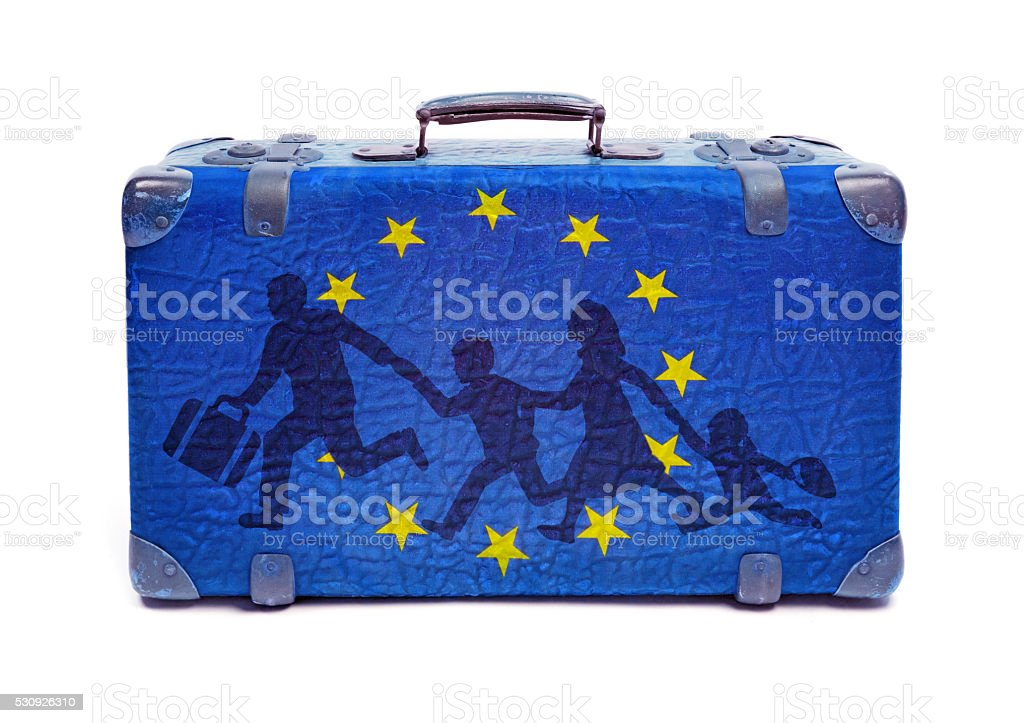 Refugees On European Union Suitcase - Concept Of Refugees Welcome stock photo