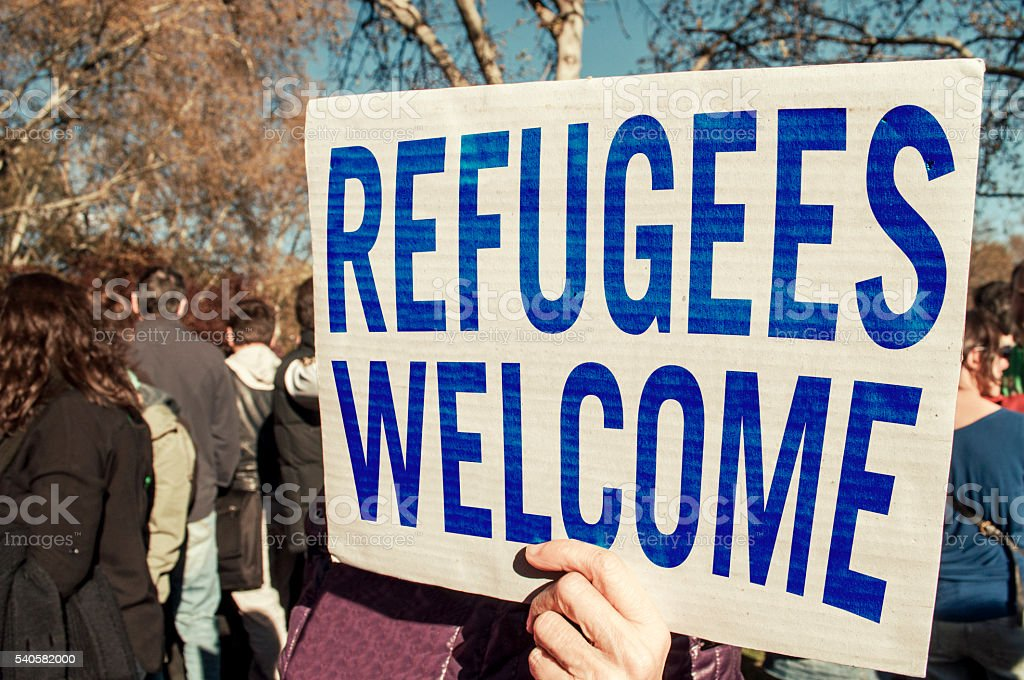 Refugees welcome stock photo