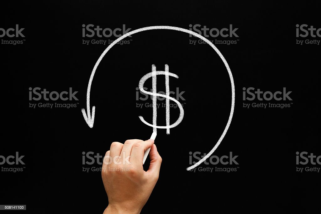 Refund Arrow Concept Blackboard stock photo