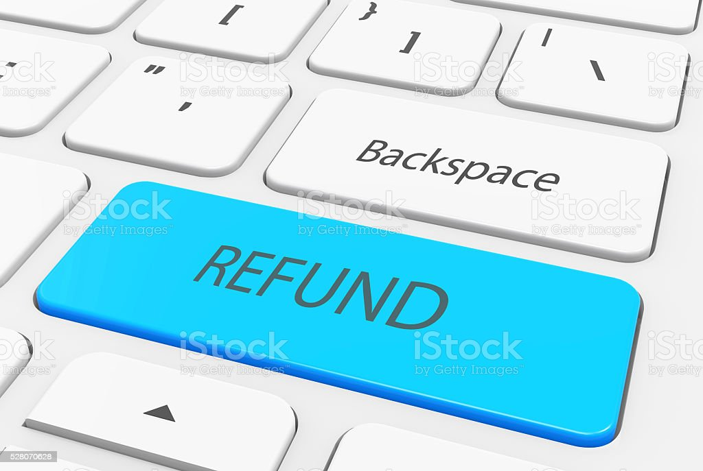 Refund word on the blue enter keyboard stock photo