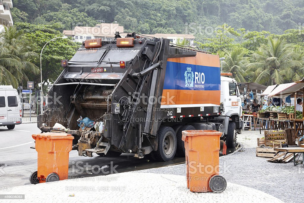 Refuse collection in Rio city centre royalty-free stock photo