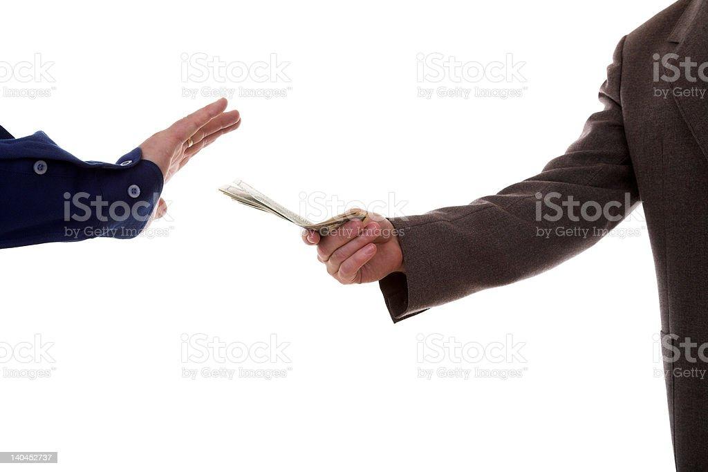 Refuse to take money stock photo