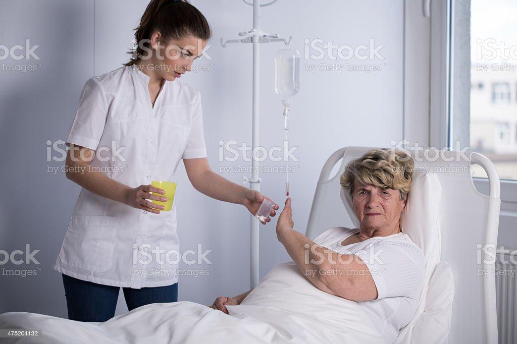 Refusing to take a medicine stock photo