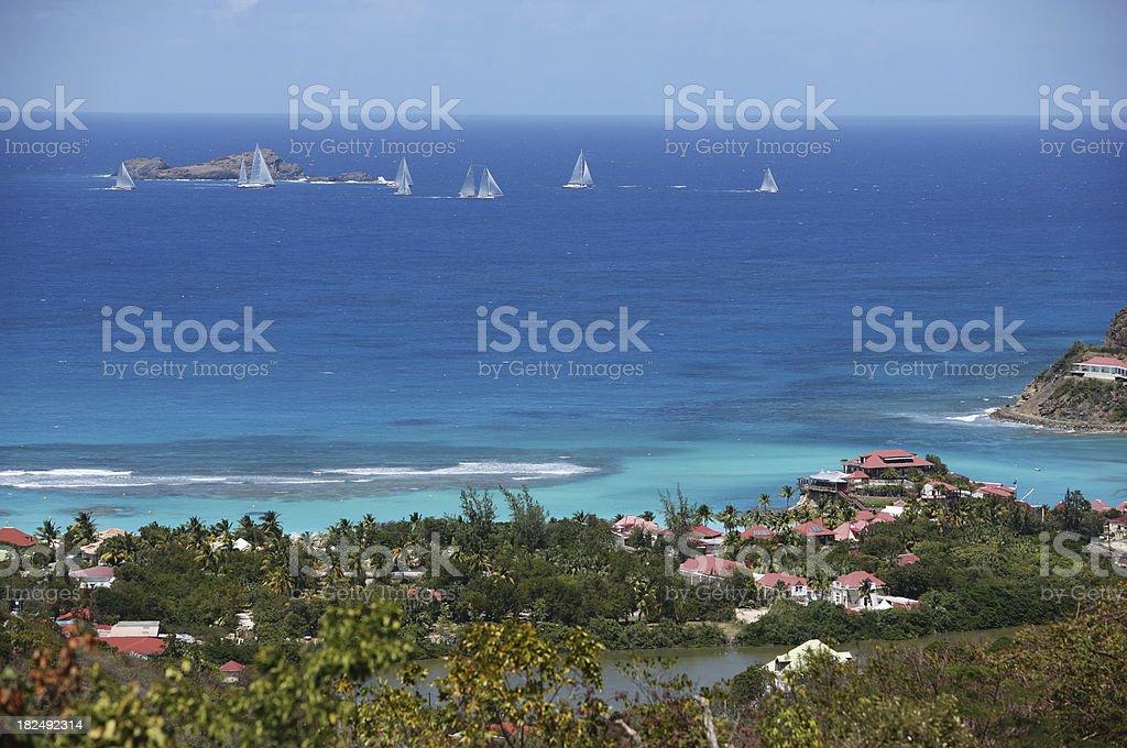 Regatta at St.Barts (French Antilles, Caribbean) royalty-free stock photo