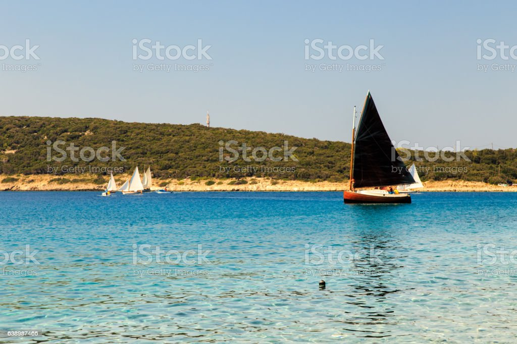 regatta in a bay in Croatia stock photo