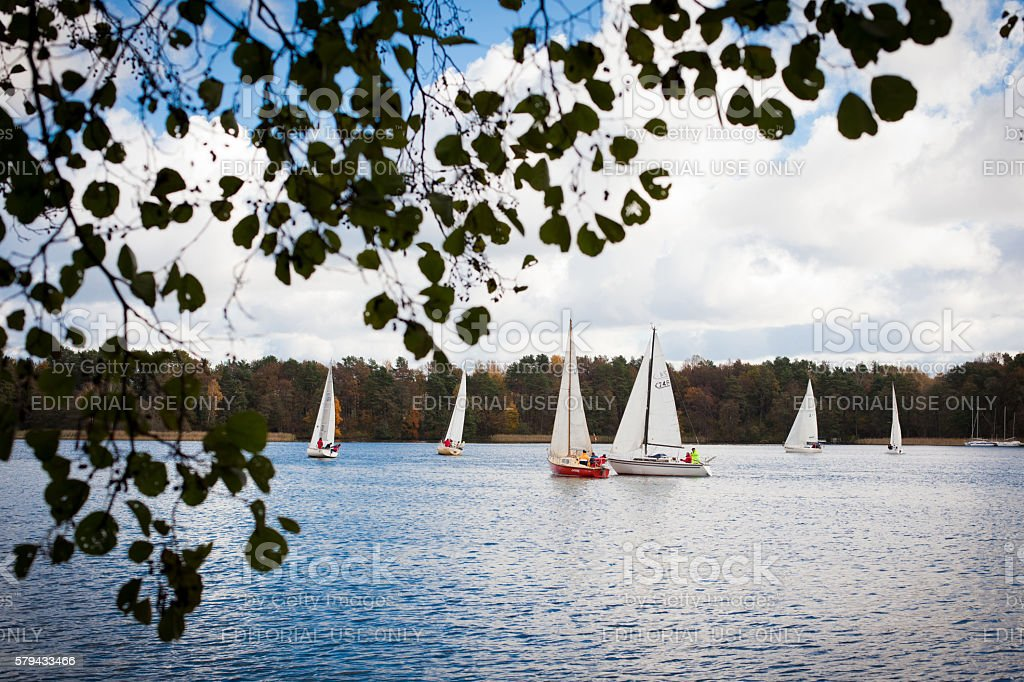 Regatta on Galve lake in Trakai, Lithuania stock photo