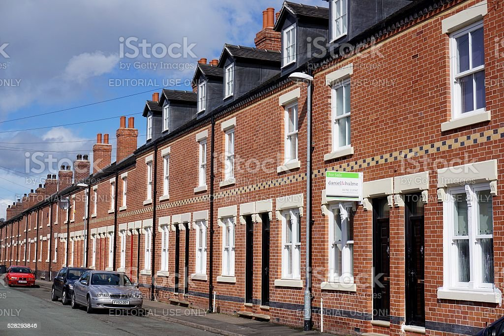 Regenerated Street of Terraced Houses in Stoke-on-Trent, England stock photo