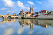 Regensburg Cathedral and Stone Bridge over Danube, Germany