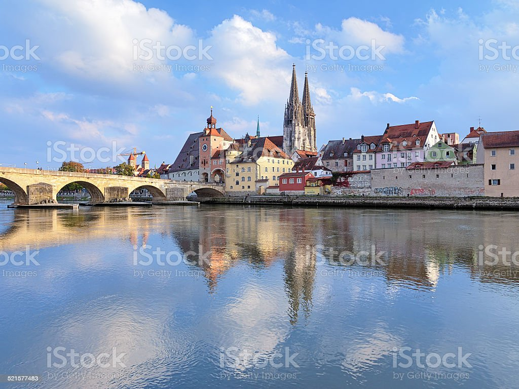 Regensburg Cathedral and Stone Bridge over Danube, Germany stock photo