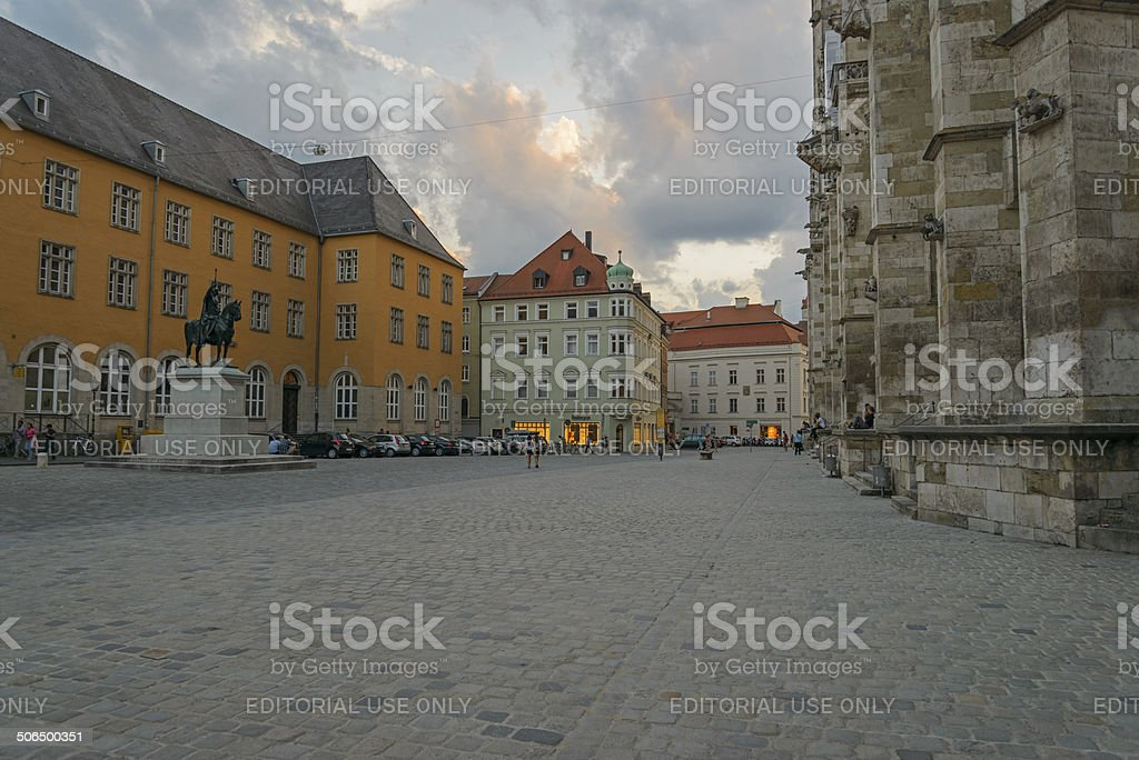 Regensburg historic old town - Cathedral Square stock photo