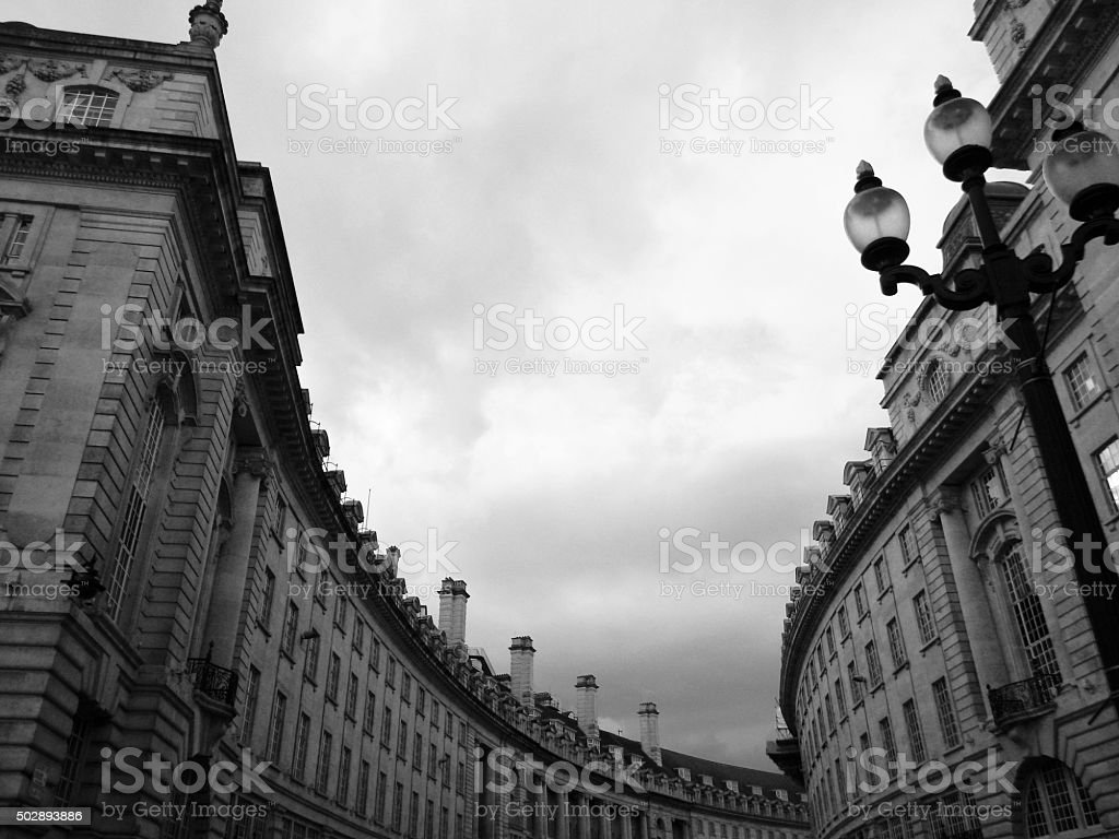 Regent Street Arches London in Black and White stock photo