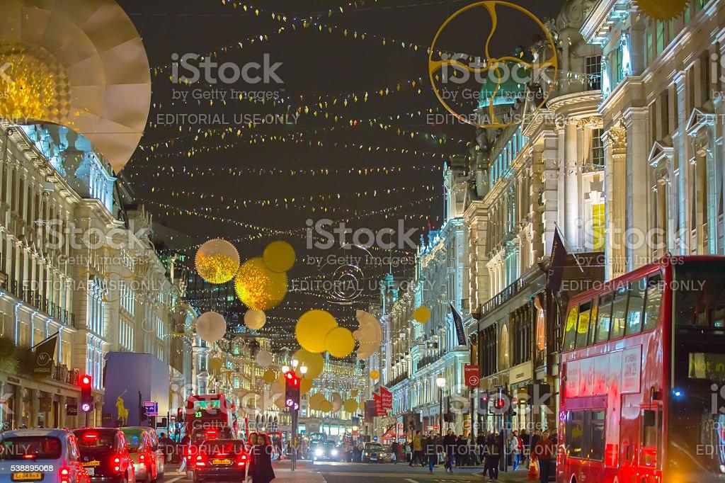 Regent street at Christmas time, London stock photo