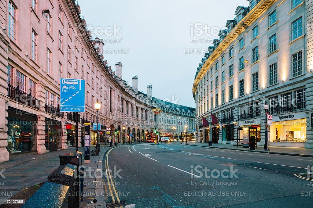 Regent Street at dawn London, Uk stock photo