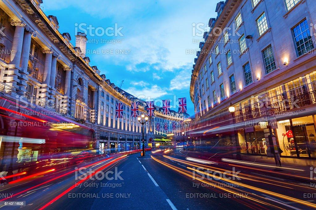 Regent Street in London, UK, at night stock photo