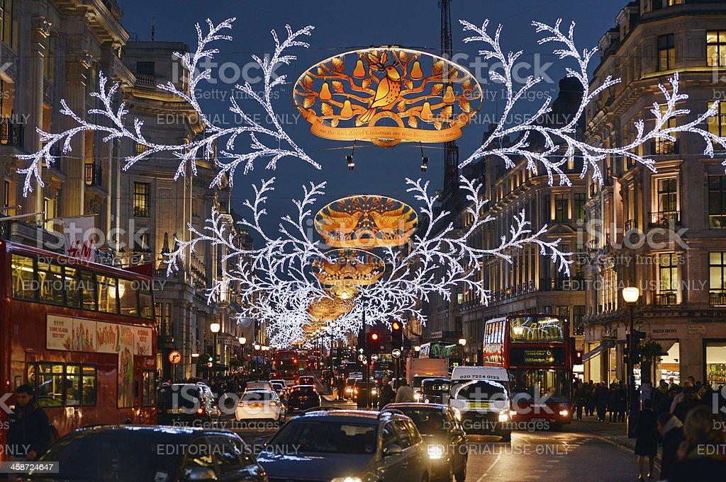 Regent Street lights stock photo