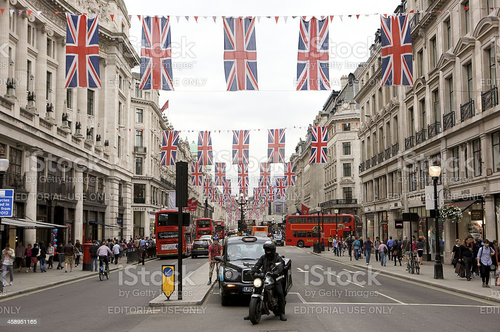 Regent Street, London decorated for the Queen's diamond Jubilee royalty-free stock photo