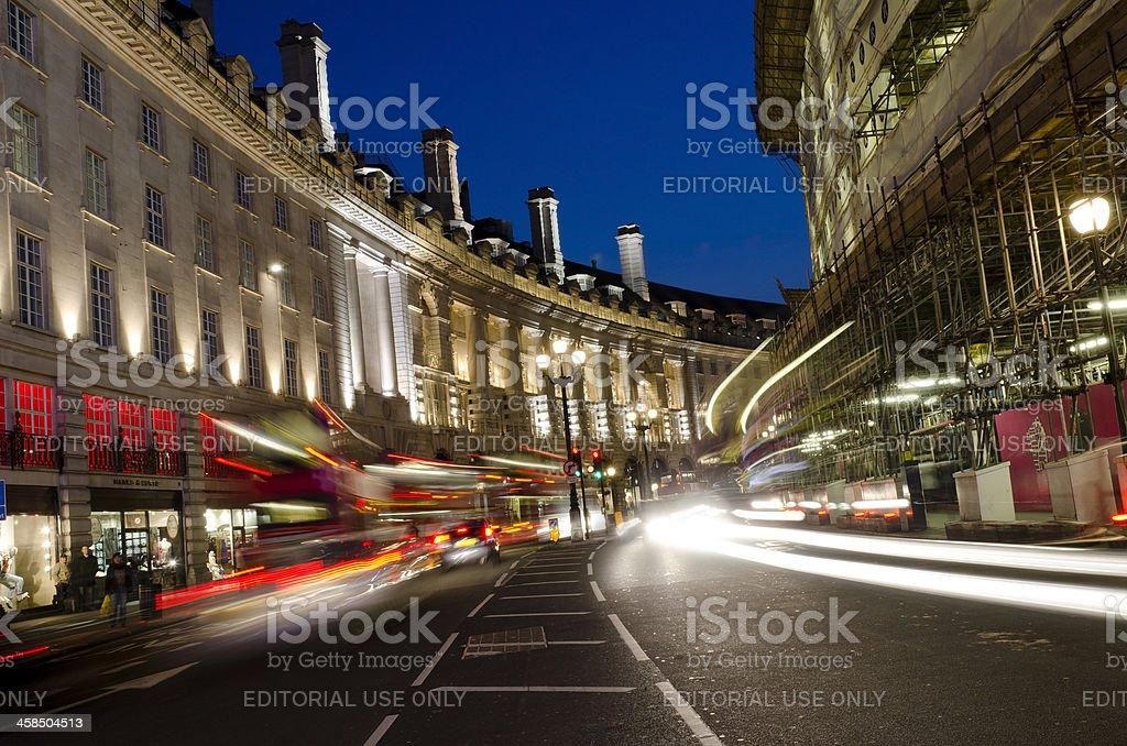 Regent Street, nightime, London royalty-free stock photo