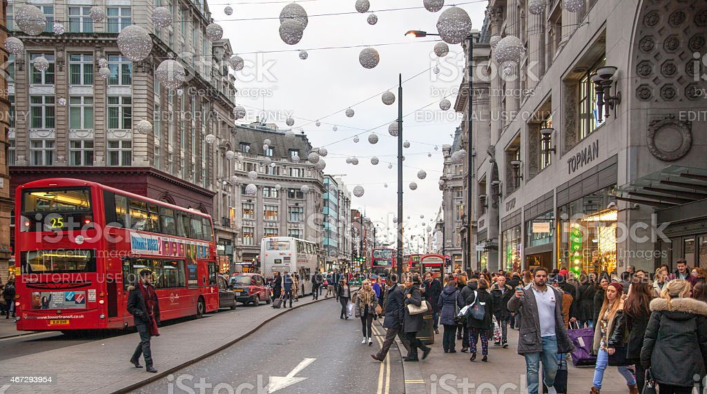 Regent street, Oxford circus with lots of pedestrians and traffic stock photo