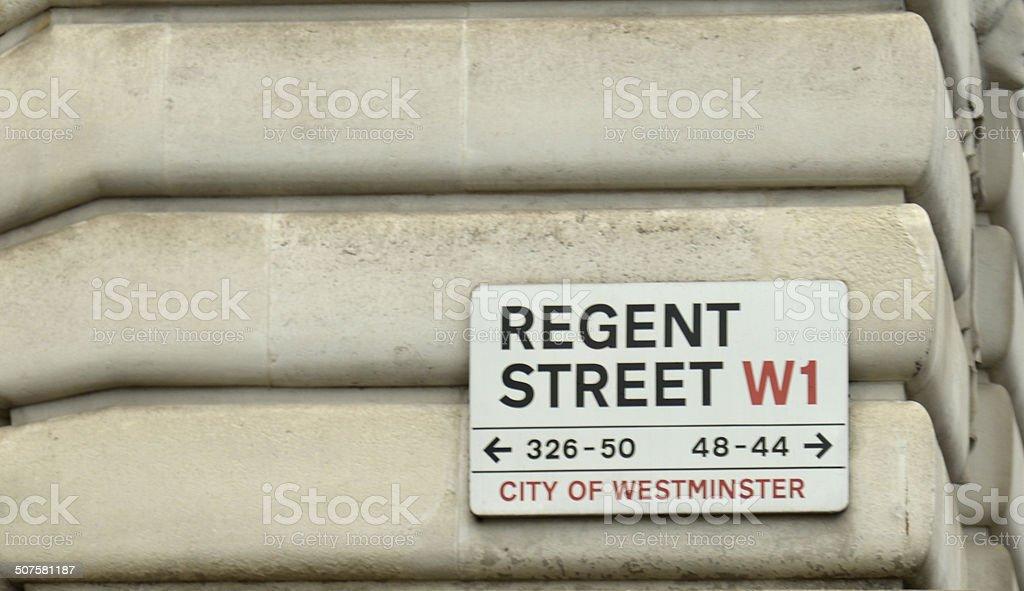 Regent street sign. London England. stock photo