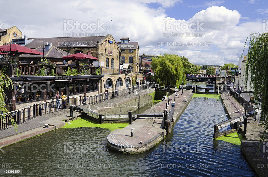Regent's Canal at Camden Lock in London, England stock photo