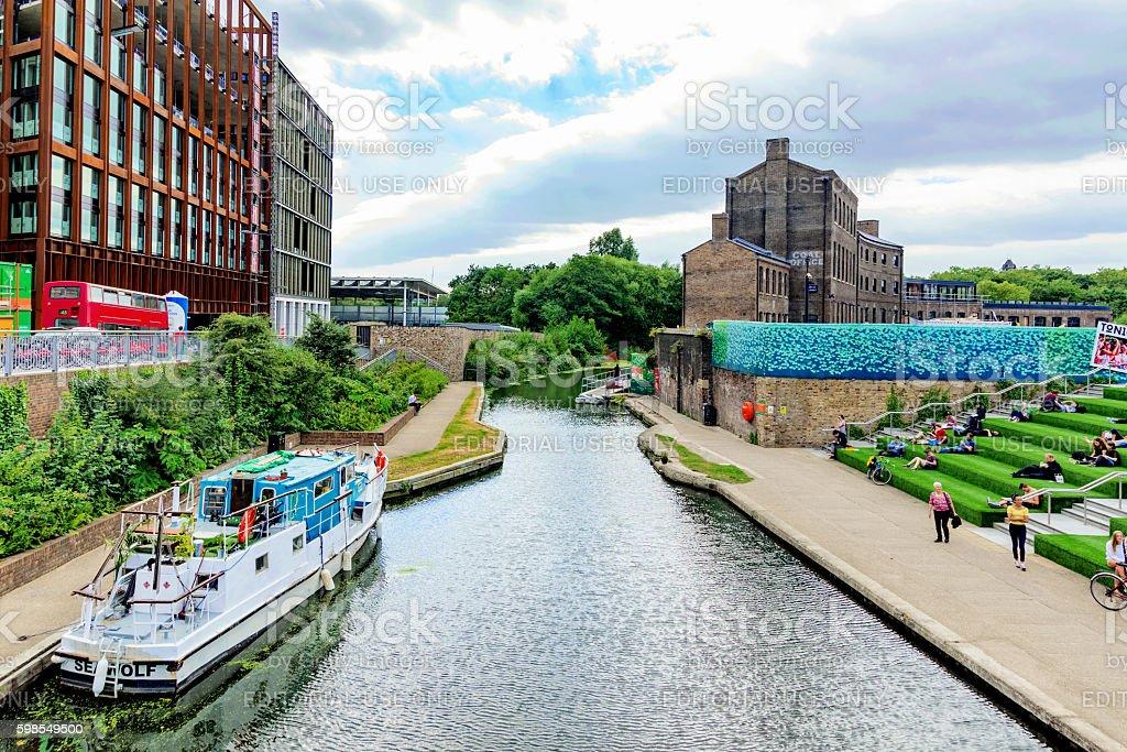 Regents canal in kings cross stock photo
