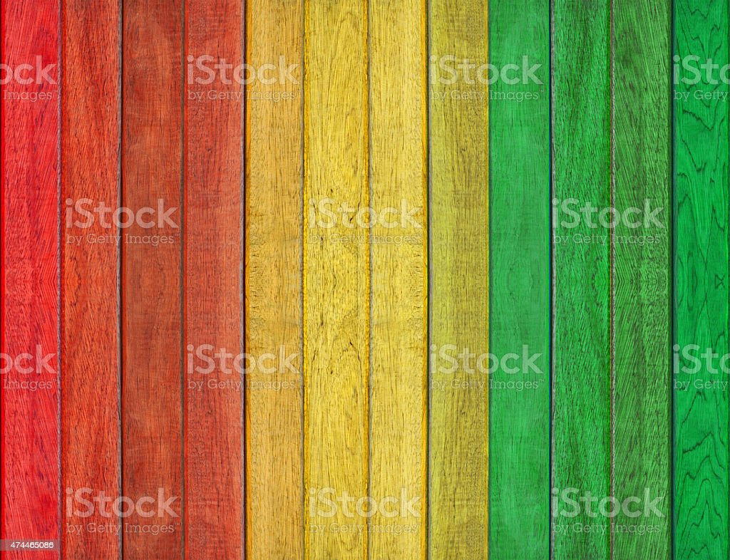 reggae color with wooden wall Background stock photo