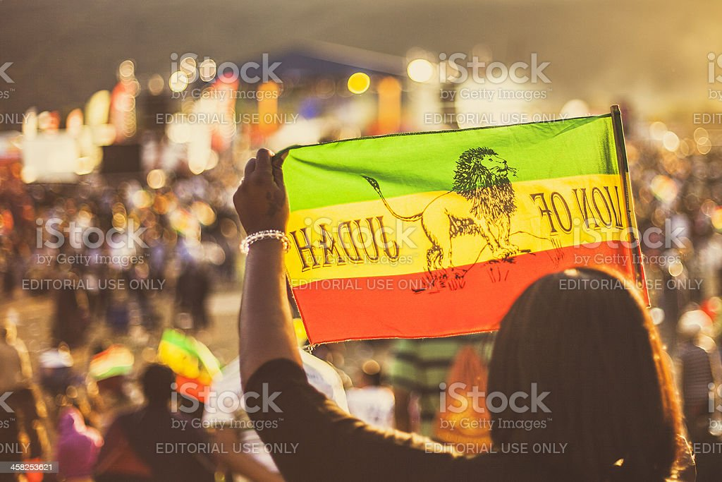Reggae crowd with rasta flags. stock photo