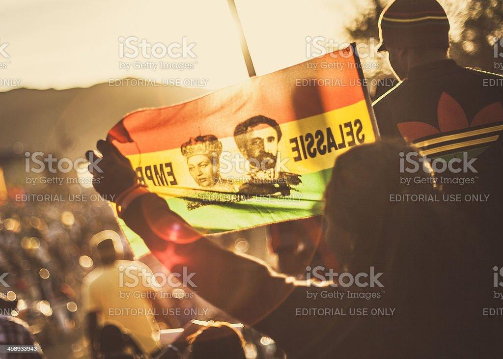 Reggae crowd with rasta flags. royalty-free stock photo