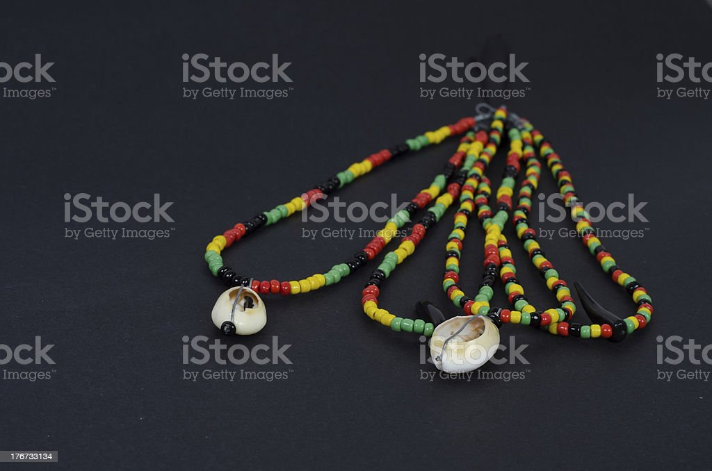 Reggae necklace with shells royalty-free stock photo