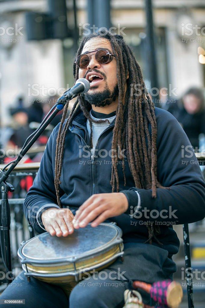 Reggae singer at urban street stock photo