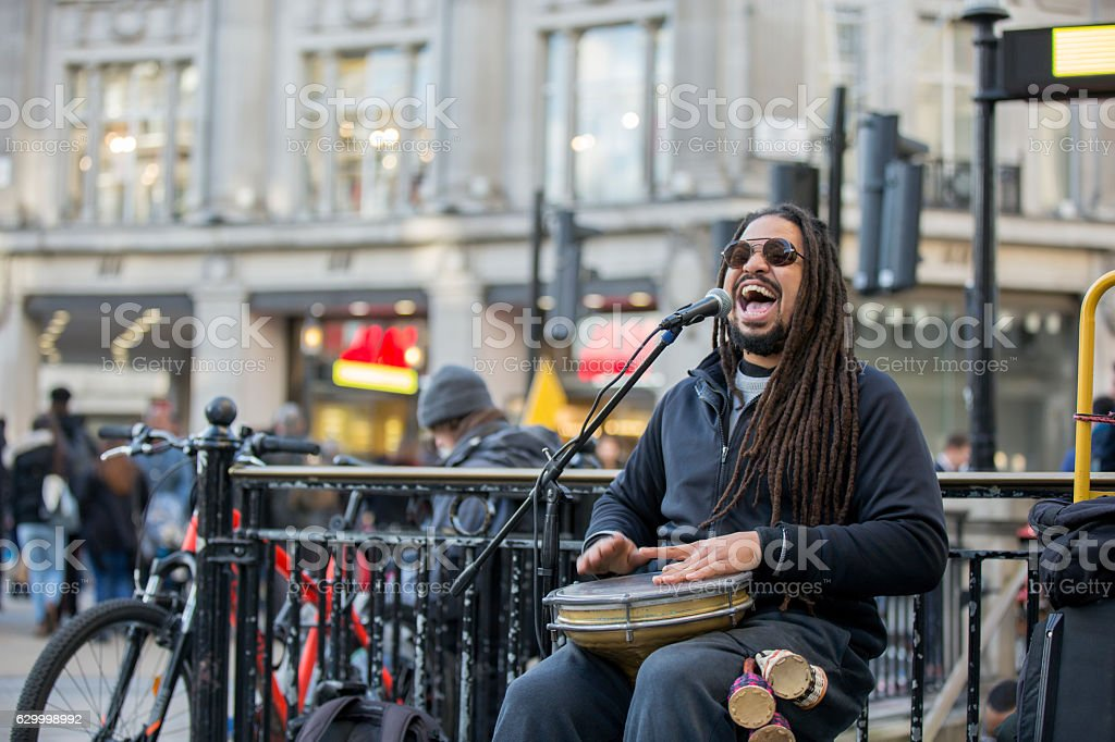 Reggae singer at urban street stock photo