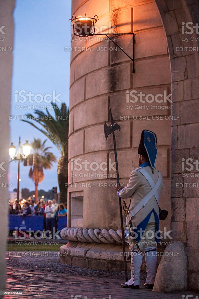 Regiment Castilla period dressed guards at Palms door stock photo