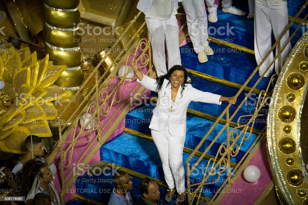 Regina Casé on a carnival float royalty-free stock photo