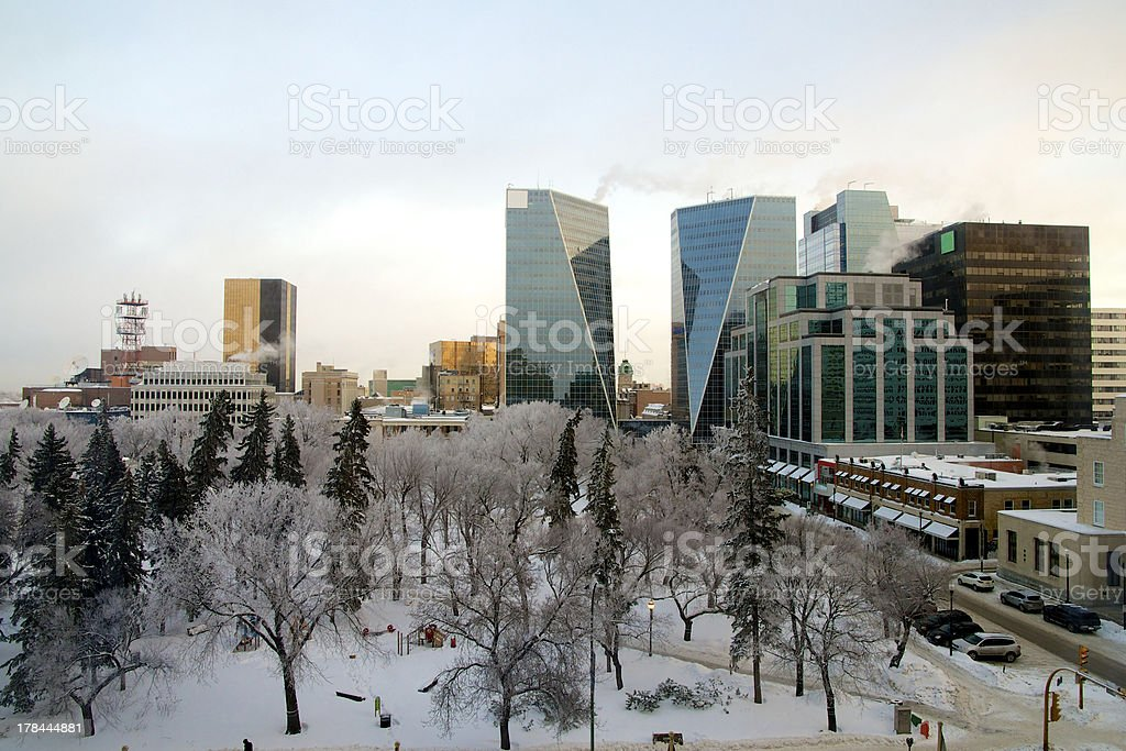 Regina downtown after Ice Fog stock photo