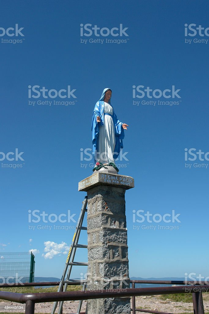 Regina Pacis statue on vogesian mountain top, France stock photo